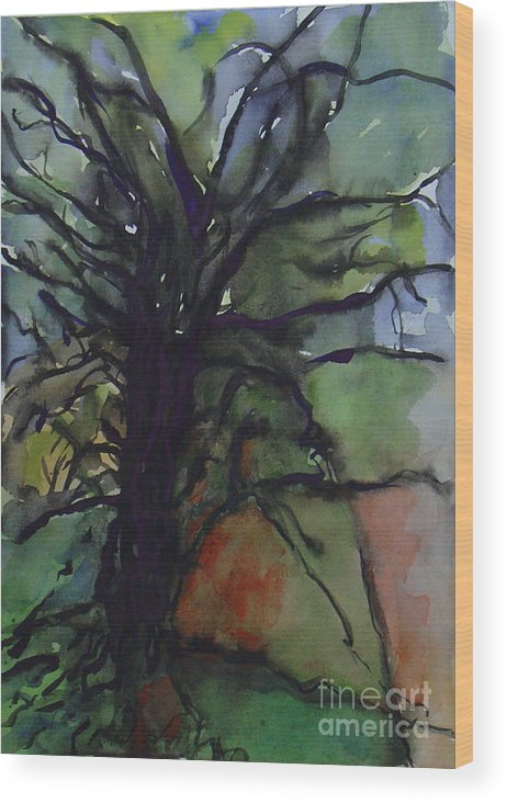 Tree Landscape Abstract Watercolor Original Blue Green Wood Print featuring the painting Branching by Leila Atkinson