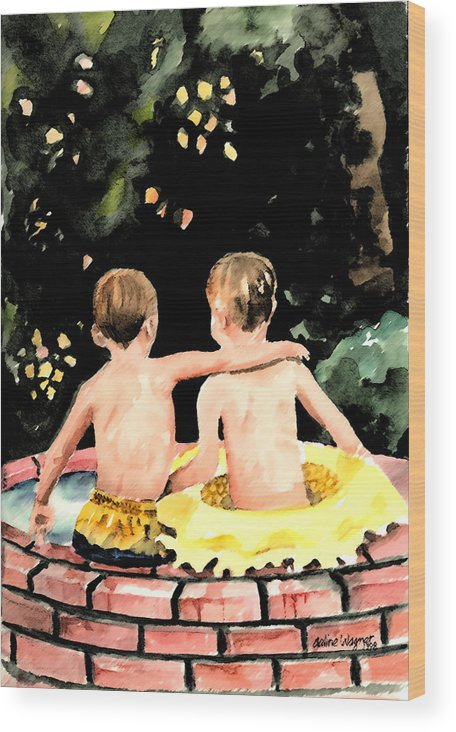 Boys Wood Print featuring the painting Buddies by Arline Wagner