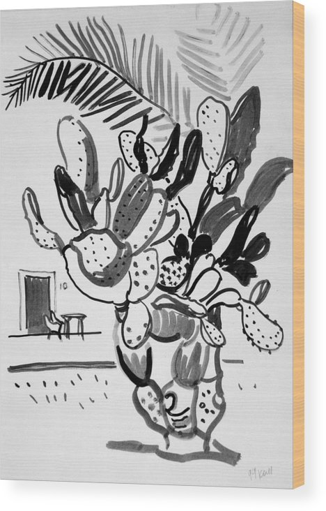 Cactus Wood Print featuring the drawing Cactus and palm by Vitali Komarov
