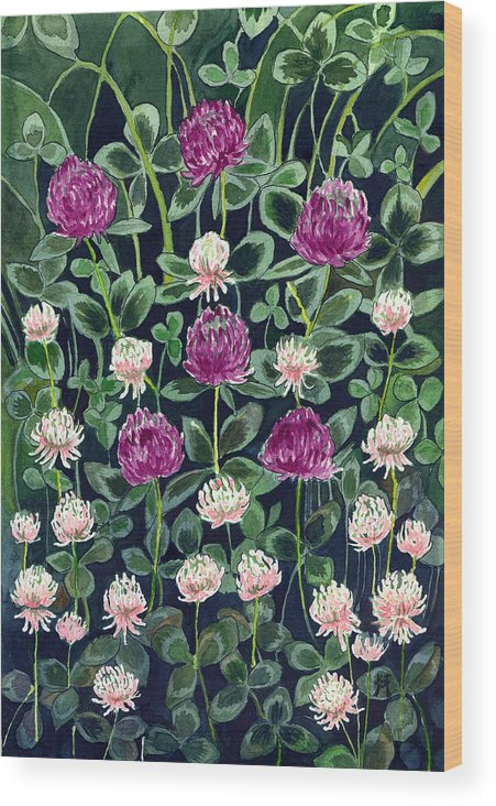 White Clover Wood Print featuring the painting Clover by Katherine Miller