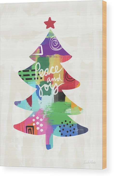 Christmas Wood Print featuring the painting Colorful Christmas Tree- Art by Linda Woods by Linda Woods