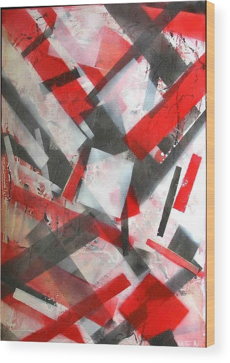 Abstract Wood Print featuring the painting Construction In Red by Evguenia Men