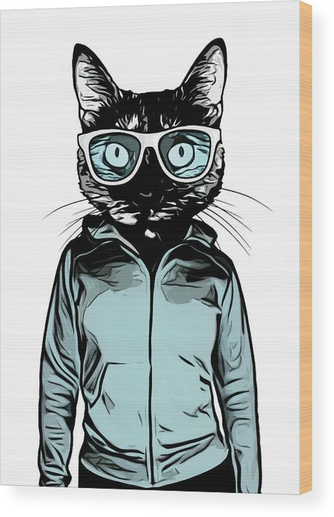 Cat Wood Print featuring the mixed media Cool Cat by Nicklas Gustafsson