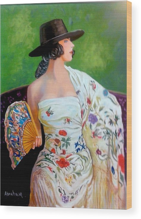 Women Wood Print featuring the painting Dancer by Jose Manuel Abraham