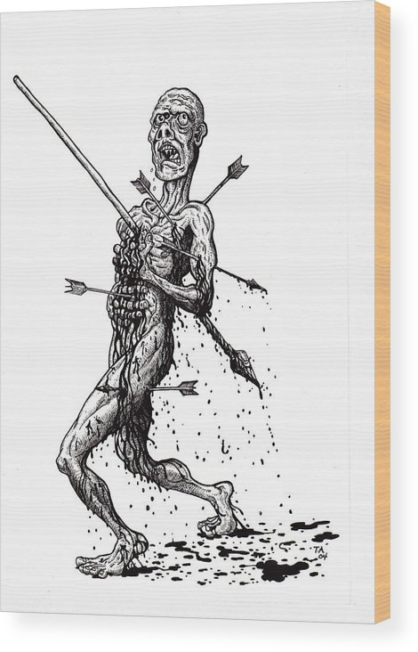 Dark Wood Print featuring the drawing Death March by Tobey Anderson