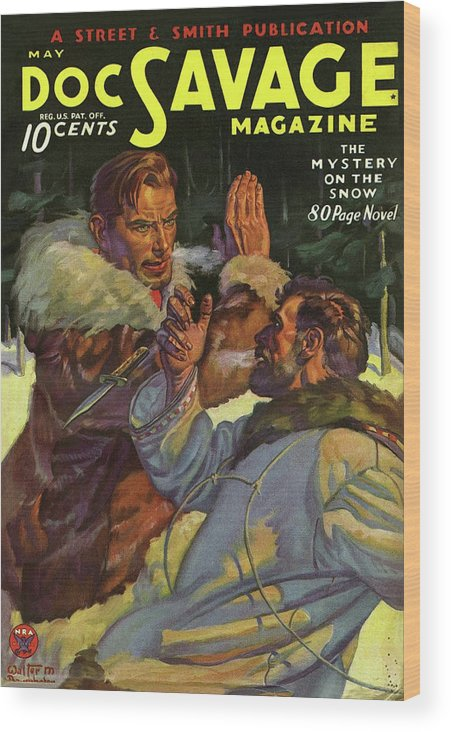 Comic Wood Print featuring the drawing Doc Savage The Mystery on the Snow by Conde Nast