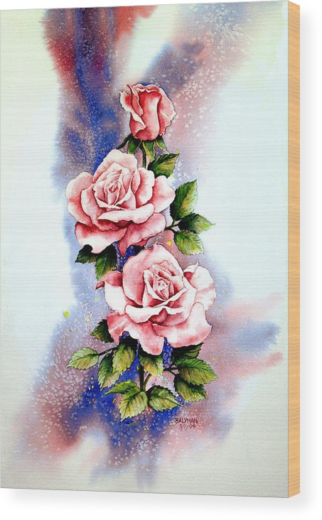 Floral Wood Print featuring the painting Dream Roses by Brooke Lyman