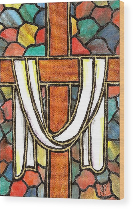 Easter Wood Print featuring the painting Easter Cross 6 by Jim Harris
