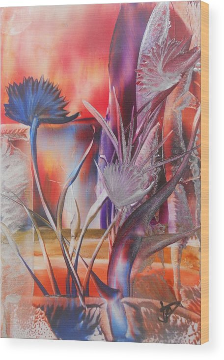 Abstract Floral Wood Print featuring the painting Elegant by John Vandebrooke