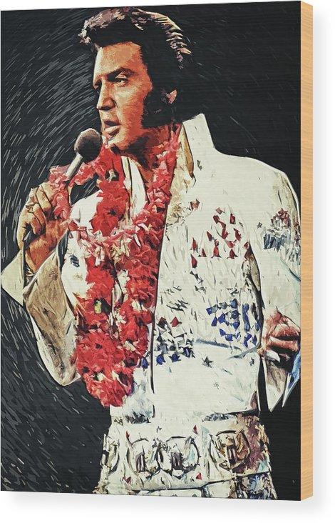 Elvis Presley Wood Print featuring the digital art Elvis Presley by Zapista OU