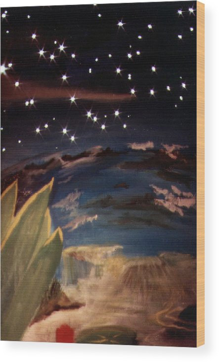 Surreal Wood Print featuring the painting Enter my dream by Steve Karol