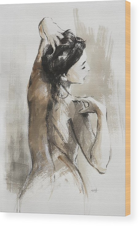 Woman Wood Print featuring the painting Expression by Steve Henderson