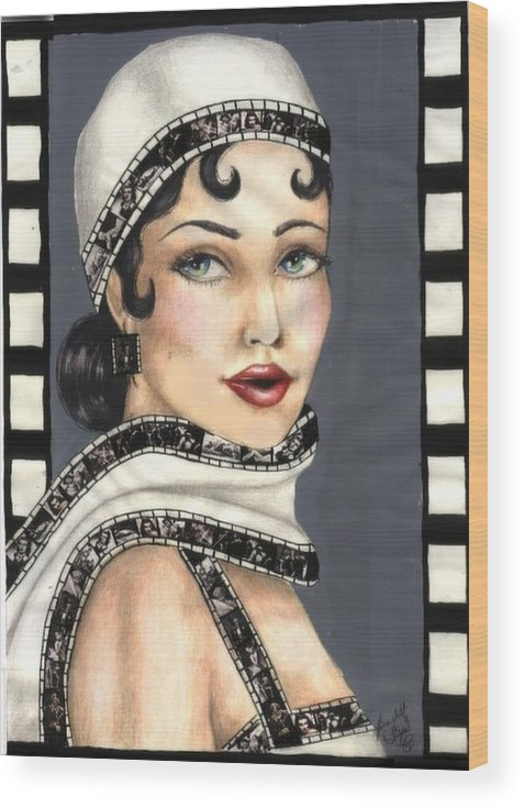 Portrait Wood Print featuring the drawing Film 2 by Scarlett Royal