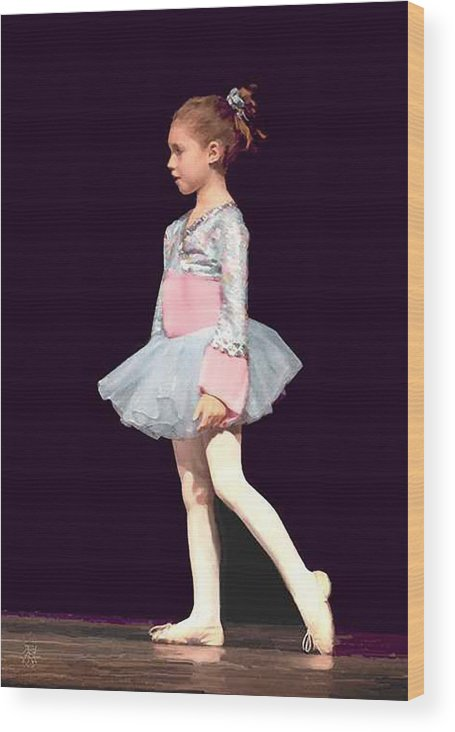 Child Ballerina. Wood Print featuring the digital art First Recital by John Helgeson