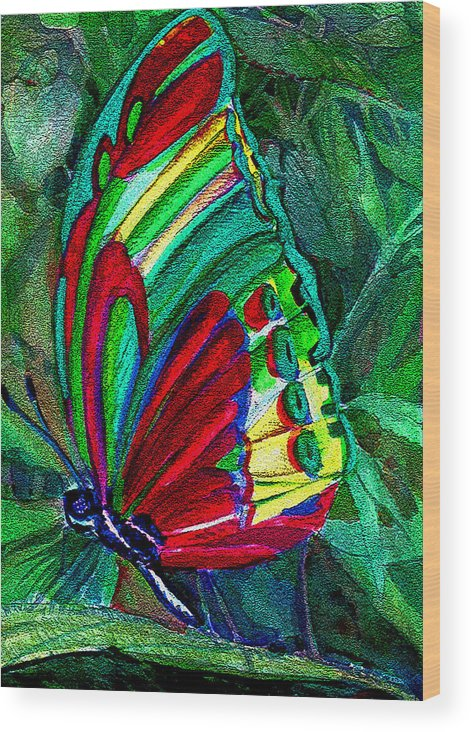 Fly Wood Print featuring the digital art Fly Butterfly by Mindy Newman