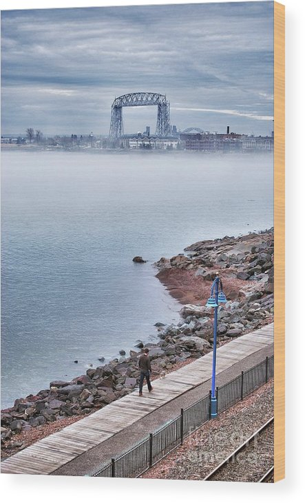 Lake Superior Wood Print featuring the photograph Foggy Lake Superior Afternoon by Ever-Curious Photography