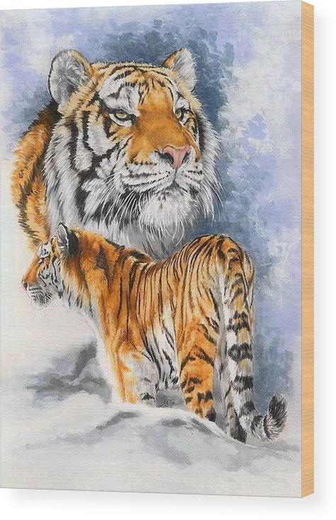 Big Cats Wood Print featuring the mixed media Forceful by Barbara Keith