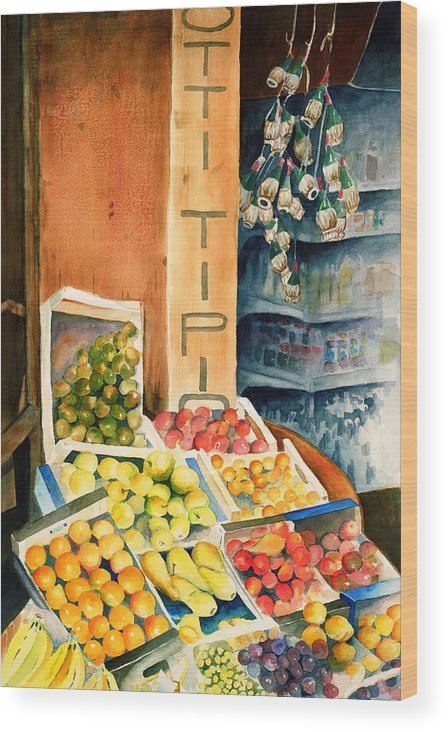 Fruit Shop Window Wood Print featuring the painting Fruit Shop in San Gimignano by Judy Swerlick
