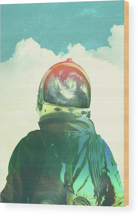Collage Wood Print featuring the photograph God Is An Astronaut by Fran Rodriguez