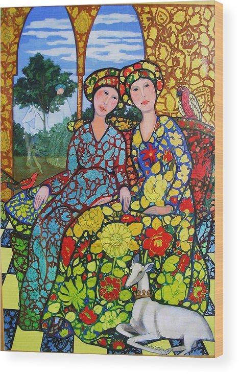 Golden Afternoon With Horseman Wood Print featuring the painting Golden Afternoon Wth Horseman by Marilene Sawaf