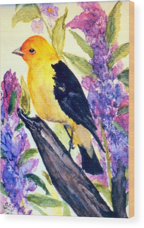 Birds Wood Print featuring the painting Goldfinch by Gail Kirtz