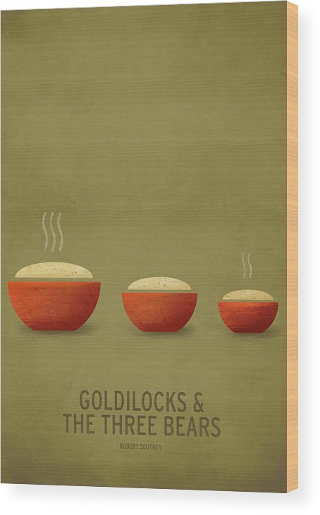 Stories Digital Art Wood Print featuring the digital art Goldilocks and the Three Bears by Christian Jackson