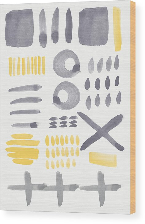 Grey And Yellow Wood Print featuring the painting Grey and Yellow Shapes- abstract painting by Linda Woods