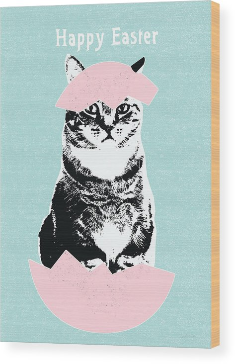 Cat Wood Print featuring the digital art Happy Easter Cat- art by Linda Woods by Linda Woods