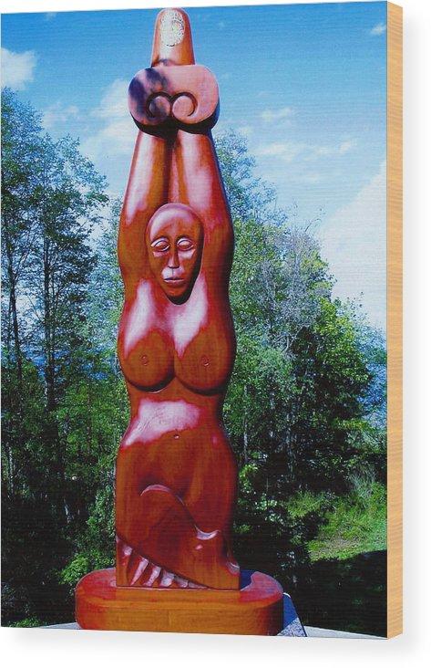 Goddess Red Mahogany Ivory Heaven Mythology Nature Female Nude Fertility Abundance Sunshine Wood Print featuring the digital art Heavenly Goddess by Eric Singleton