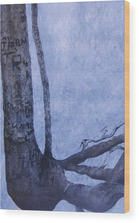Tree Trunk Wood Print featuring the painting Hedden Park II by Leah Tomaino