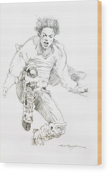 Michael Jackson Wood Print featuring the drawing HiStory Concert - Michael Jackson by David Lloyd Glover