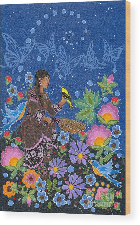 Native Women Wood Print featuring the painting Hole In the Sky's Daughter by Chholing Taha