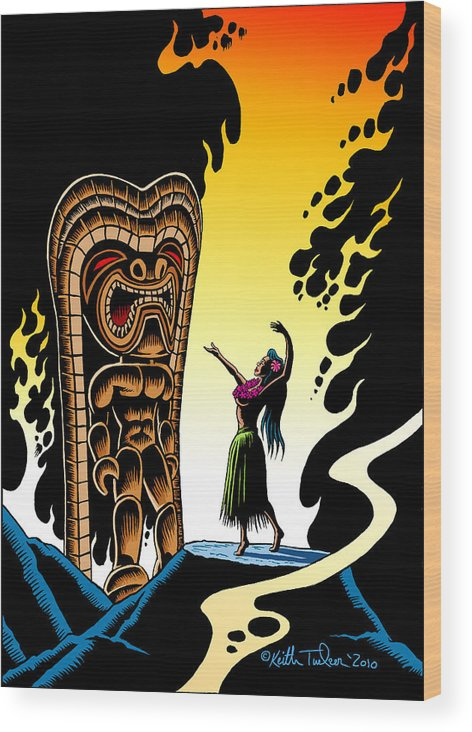 Tiki Wood Print featuring the drawing Homage To Tiki by Keith Tucker