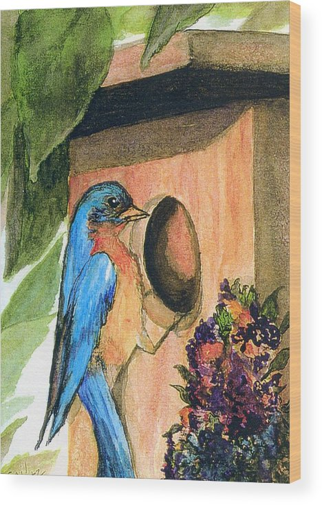 Bluebirds Wood Print featuring the painting Home Sweet Home by Gail Kirtz