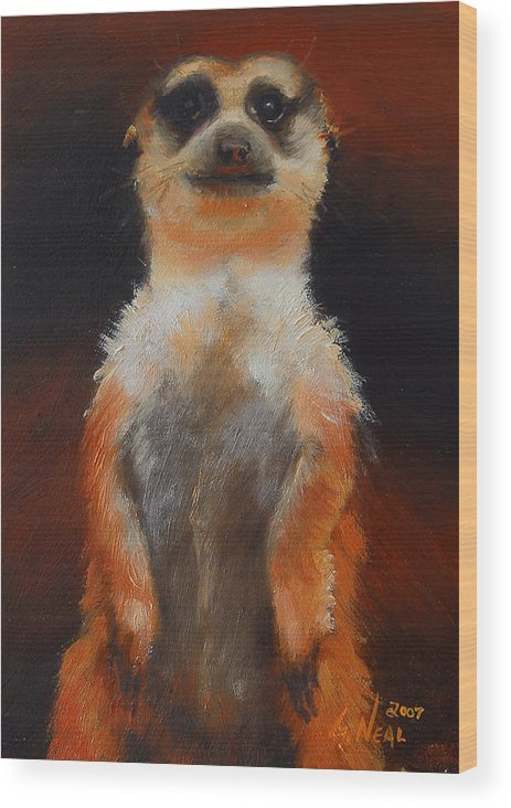Oil Wood Print featuring the painting I See You Too by Greg Neal