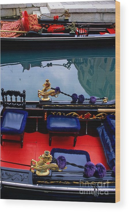 Venice Wood Print featuring the photograph Inside Gondola In Venice by Michael Henderson