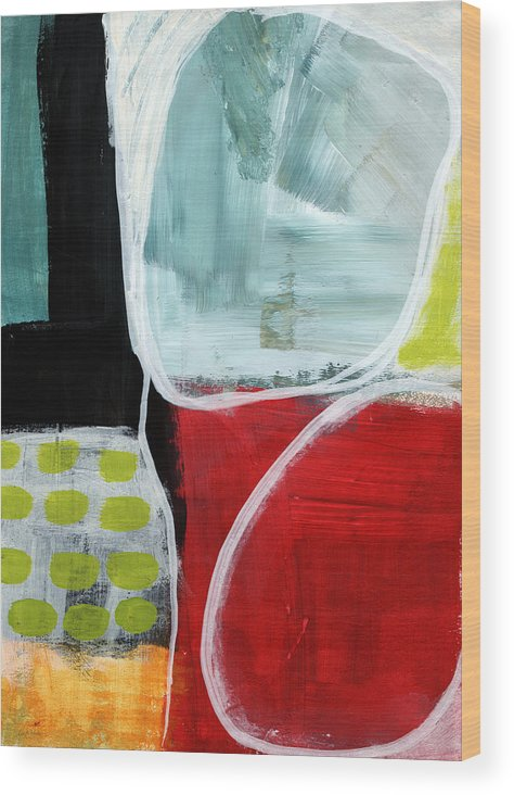 Abstract Wood Print featuring the painting Intersection 37- Abstract Art by Linda Woods