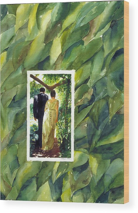 Leaves Wood Print featuring the painting Into Their Future by Nancy Ethiel