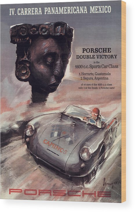 Carrera Panamericana Wood Print featuring the digital art IV Carrera Panamericana Porsche Poster by Georgia Fowler