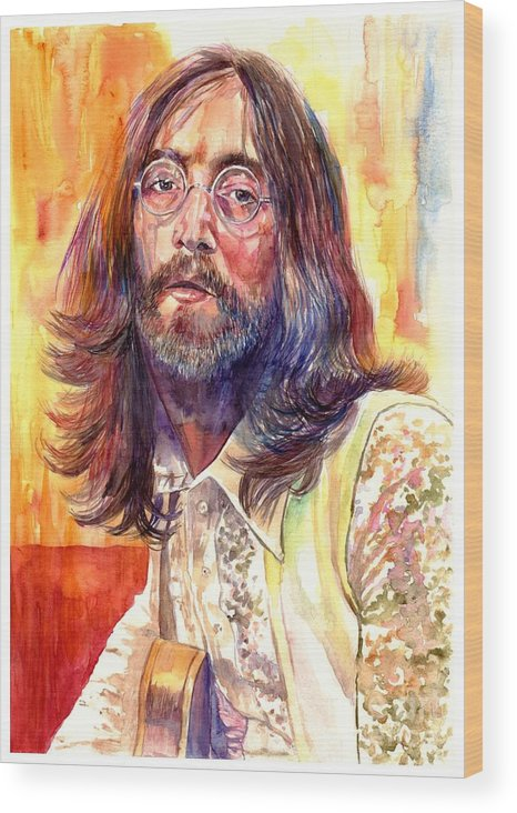 John Lennon Wood Print featuring the painting John Lennon watercolor by Suzann Sines