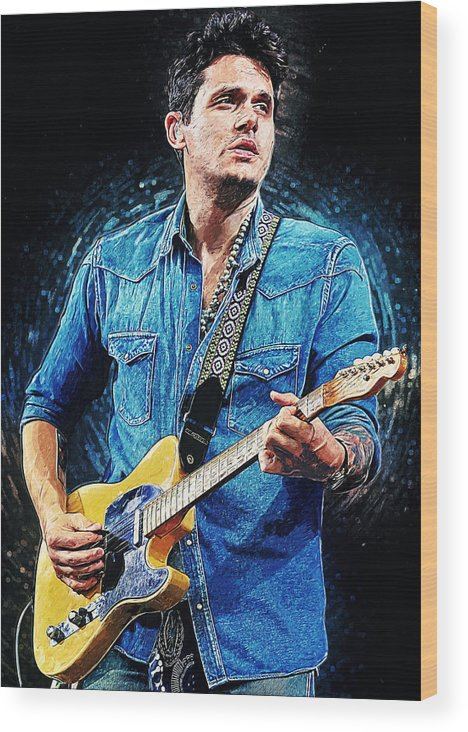 John Mayer Wood Print featuring the digital art John Mayer by Zapista OU