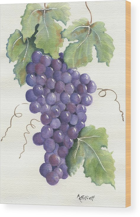 Grapes Wood Print featuring the painting Juicy Cluster by Marsha Elliott