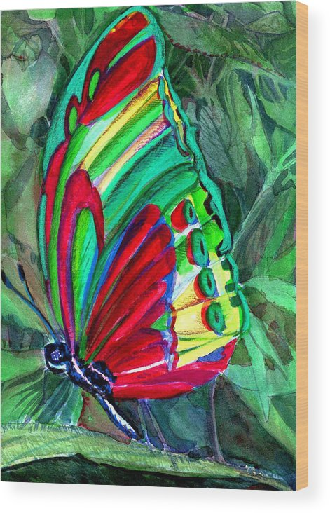 Fly Wood Print featuring the painting Jungle Butterfly by Mindy Newman