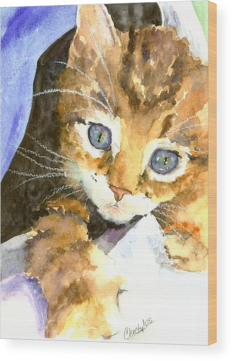 Cat Wood Print featuring the painting Kitten In Blue by Christy Freeman Stark