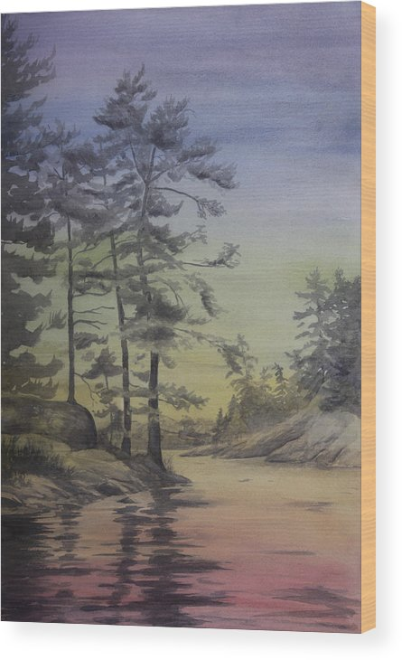 Lake Wood Print featuring the painting Lake Reflections Prismatic by Debbie Homewood