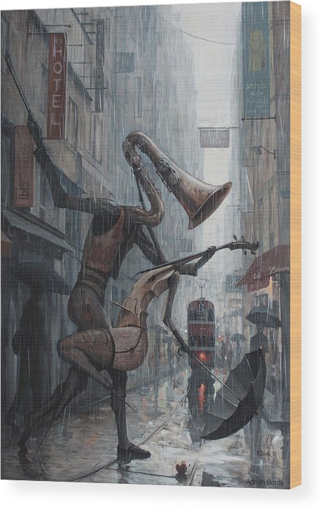 Life Wood Print featuring the painting Life is dance in the rain by Adrian Borda