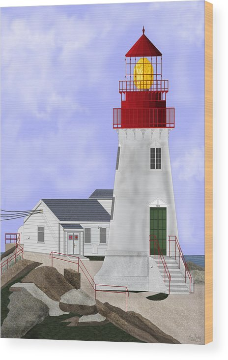 Lighthouse Wood Print featuring the painting Lindesnes Norway Lighthouse by Anne Norskog