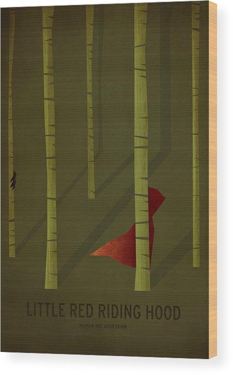 Stories Digital Art Wood Print featuring the digital art Little Red Riding Hood by Christian Jackson