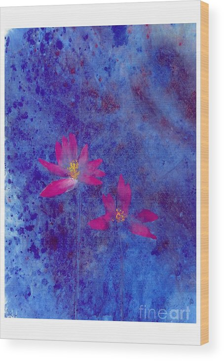 Free Style Lotus Flowers In Dreamy Blue Background. This Is A Contemporary Chinese Ink And Color On Rice Paper Painting With Simple Zen Style Brush Strokes.  Wood Print featuring the painting Lotus II by Mui-Joo Wee