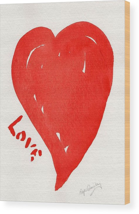 Love Wood Print featuring the painting Love Is.... by Roger Cummiskey